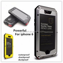 Powerful waterproof shock proof dust proof case for iphone 6 tempered glass protective phone case