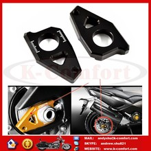 K035 Motorcycle CNC Rear Axle Spindle Chain Adjuster Blocks Fit for Yamaha TMAX 530 500 FZ8 FZ1 YZF R1