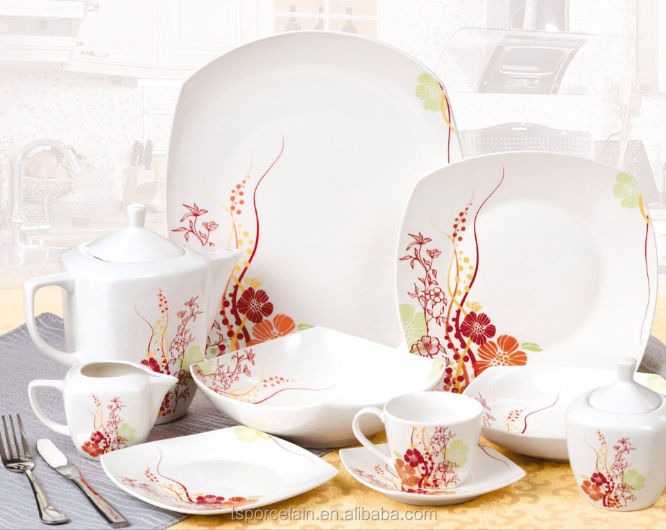 47pcs decal square porcelain dinner set wholesale porcelain dinnerware