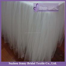 TC091B2 Fancy white wedding tulle table skirt custom table cloth
