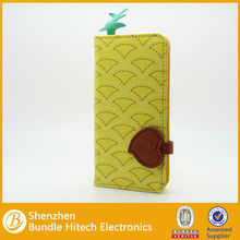 PU leather flip wallet book style cute fruit case for apple iphone 5