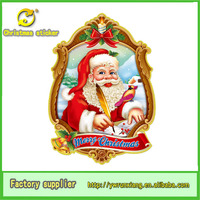 x-mas decor 3d flocking picture christmas santa claus with pen frame
