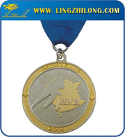 Two Tone Finished Arts And Crafts Sports Award Ribbon Medal