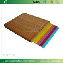 TF272 New Designed Useful Bamboo Cutting Board with Removable Dishwasher Safe Cutting Mats