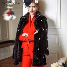 2015 new design custom black mink fur coat with white spot coat