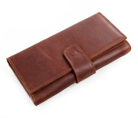 8052B Oil Soft Leather Wristlets Mens Fashion Business Style Handmade Clutches