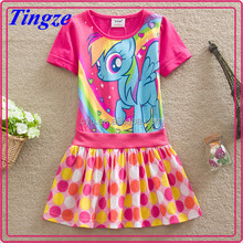 The new arrivals my little pony printed dress cotton short skirts for girls short sleeve dress with big dot