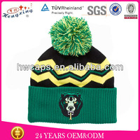 Customized Embroidery And Jacquard Beanie Winter Cap Hand Knitted Woolen Caps