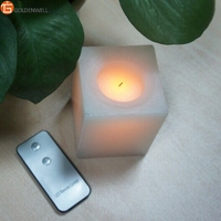 Black Wick Led Wax Candle Square Shape Look Like Real Candle