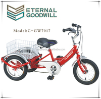 Baby tricycle with rear basket GW7017 single speed trike 12 inch 3 wheel pedal cargo bike