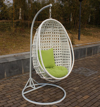 Factory price white cheap outdoor rattan hanging swinging chair indoor