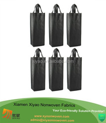 Promotional Non Woven Bag Reusable Gift Bag, Single Bottle Wine Tote , Black quality bottle bag