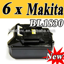6 x Makita 18V 3.0AH Makita BL1830 for power tool battery