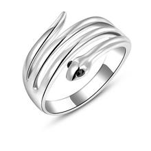 Hot sale plain animal ring design fashion cool silver snake ring