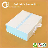 White custom folding paper gift packing box with ribbon wholesales
