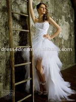 front short and long back lace wedding dress 2015 with tulle and taffeta