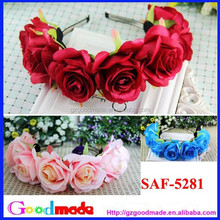 red pink and blue rose flower headband for girls hot sale