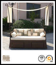 AWRF5138 all weather beach wood outdoor daybed rattan sunbed with canopy