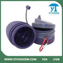 Chino hecho en casa de silicona de colores botella de agua plegable