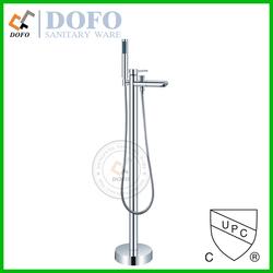 Chrome cUPC freestanding bathtub single lever faucet with bath filler