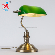 GREEN GLASS BANK TABLE LAMP WITH E14 LIGHT