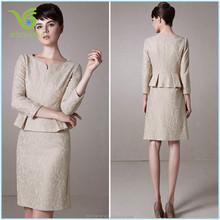 Nude color lady suit elegant lace woman skirt suit