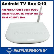 Android 4.4 tv box quad core 1GB/8GB Support Audio Media format Decoder Built-in Wifi Q10 Smart box tv set top box