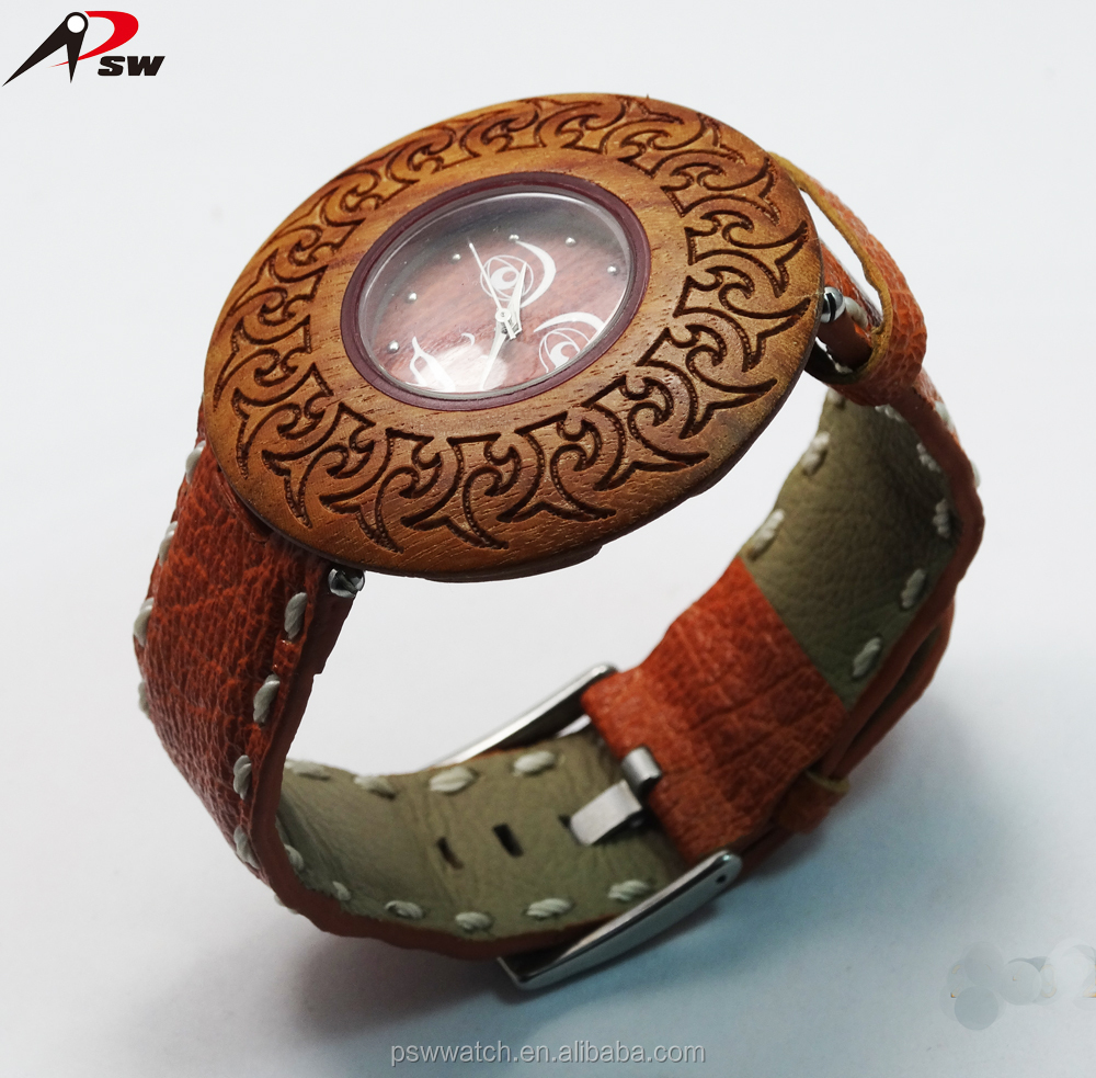 new national ethnic vintage style sandal wooden watch human face circular dial wood watch genuine leather band watch