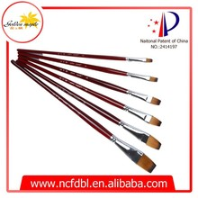 Office&School High Quality Color Nylon Hair Oil Paint Brushes Flat 213
