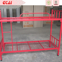 Morden very strong simple design heavy duty cheap red metal bunk bed