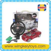 4 channel steering wheel rc car for kids with light inclue battery