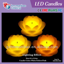 False wick flower multi-color wax flameless LED candle