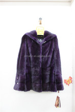 Dyed Purple Color Real Mink Coat