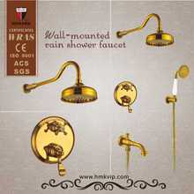 Oro de lujo de pared baño montada ducha