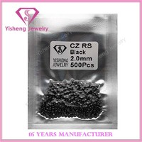 2.0mm Faceted Synthetic CZ Rough Black Diamond
