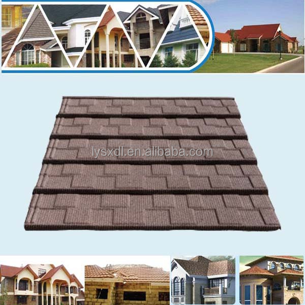 Decorative Stone Coated Metal Roof Tile Colorful Stone