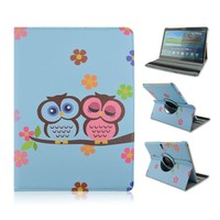Cute Owls Lover Paint Foldable PU Leather Flip Cover for Samsung Tab S 10.5 T800 with Elastic Belt
