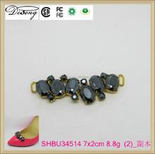 SHBU34514 trends gold plating rhinestone shoe chains,metal shoe decorations