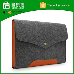 Custom Real Leather Bottom Bag Magnetic Button Felt Laptop Sleeve