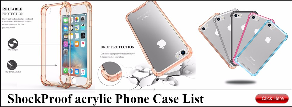 shock acrylic phone case list
