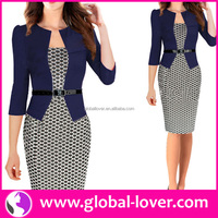 New design office lady long sleeve V neck 2015 fashion women dress pakistani dresses
