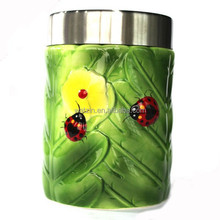 lady bird design tea coffee airtighter large and small ceramic storage jar