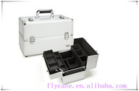 professional makeup trolley case,carry-on aluminum cosmetic bag/case with train case