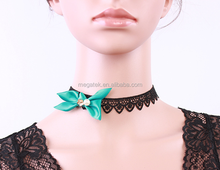 Short jewelry black green bowknot necklace natural green malachite necklace