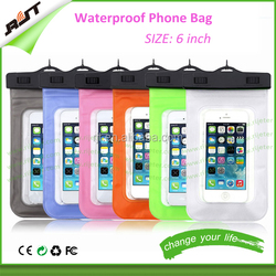 For 6 inch transparent PVC Mobile Phone Waterproof Bag With String