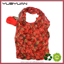 2015 Customized red flower printing foldable folding colorful printed custom made shopping bags