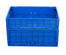 China Blue Plastic Foldable Container Box,Sale Folding Closed Stable Crate, Plastic Folding Container