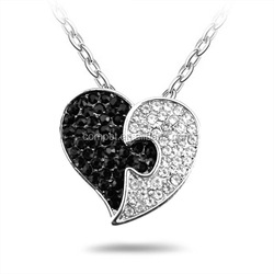 Students black and white peach heart pendant necklace a couple of stars series couples family gift