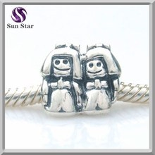 Wholesale Sterling Silver Oxidized Girls and Boys Bead Charm