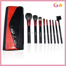 9pc black cylinder handle makeup brush set with upscale evening bag